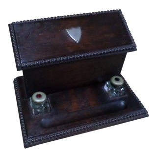 English Oak Letterbox and Inkstand For Sale