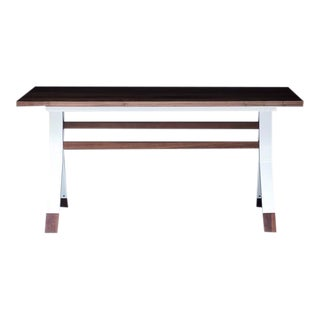 Ladder Back, Modern Walnut and Powder Coated Steel Dining Table
