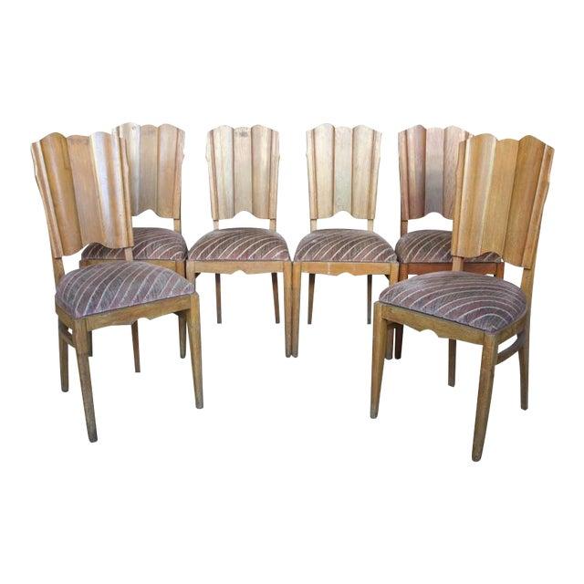 Set of Six Linen Fold Oak Side Chairs - Image 1 of 8