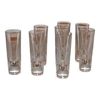 Set of 8 Carlo Moretti Modern Heavy Blown Glass Drinking Glasses Glassware Italy For Sale