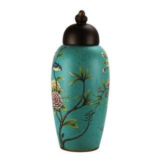 Pasargad DC Modern Contemporary Turquoise Floral Porcelain Jar Preview