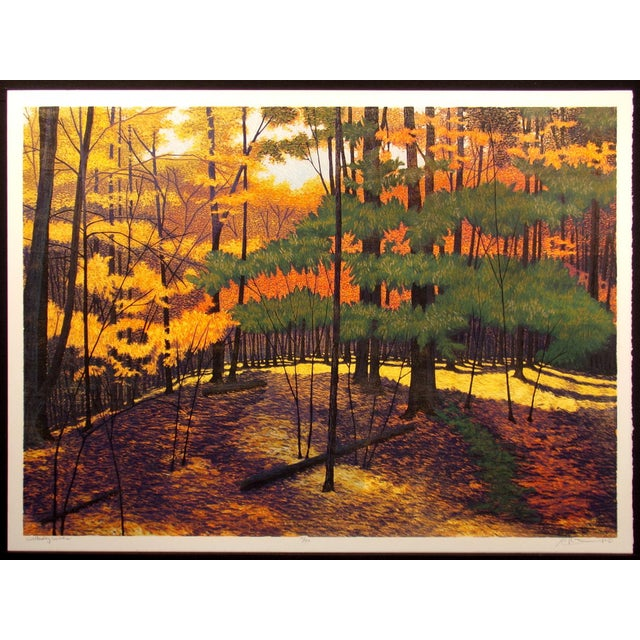 "Gordon Mortensen ""Wellesley Woods"" Signed Woodcut Print For Sale"