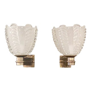 1960s Vintage Barovier E Toso Frosted Murano Glass Sconces- a Pair For Sale