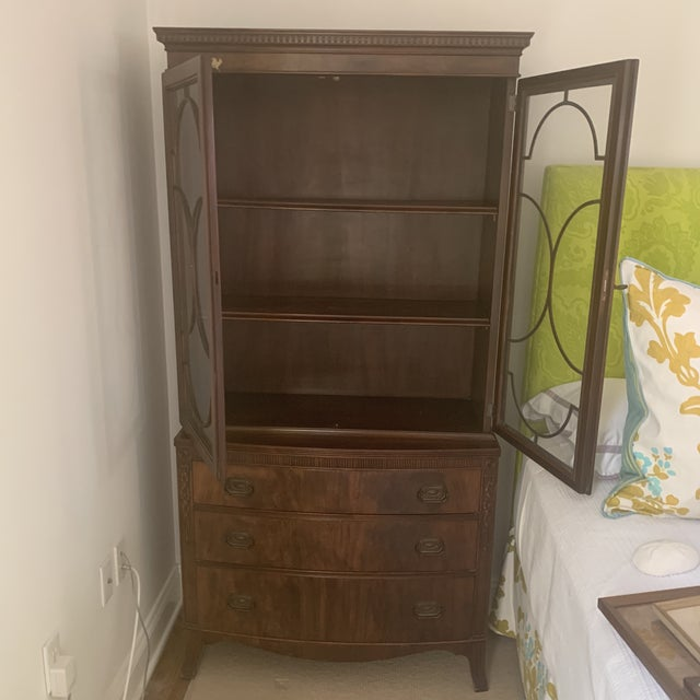 Antique Mahogany China Display Cabinet For Sale - Image 4 of 13