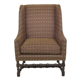 Custom Upholstered Wing Chair For Sale