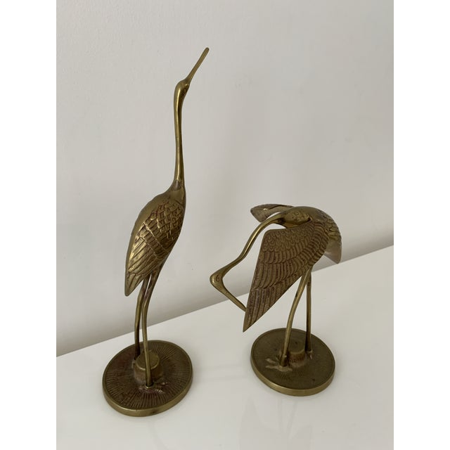 Mid-Century Modern Brass Crane Figurines - a Pair For Sale - Image 3 of 10