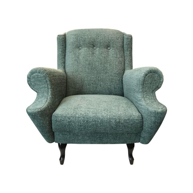 Vintage button back lounge chair with rolled arms newly upholstered in a mint chenille fabric. French, 1950's. *Pair...