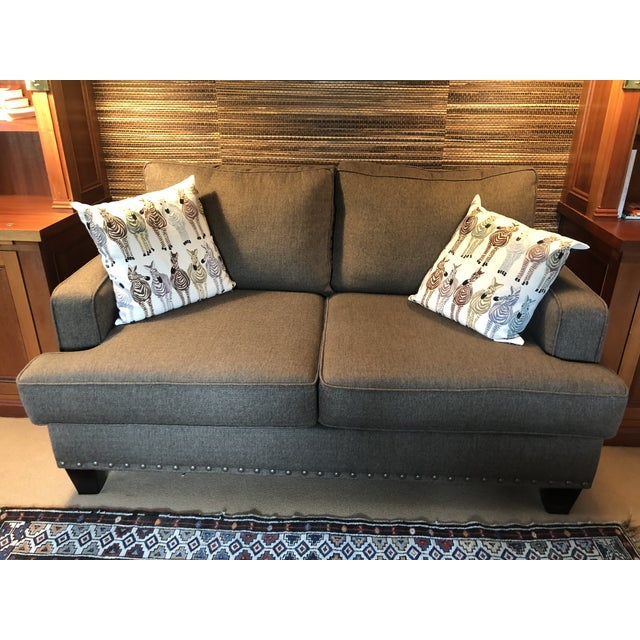 Brown Upholstered Custom Loveseat Sofa With Large Brass Nailheads For Sale - Image 8 of 9