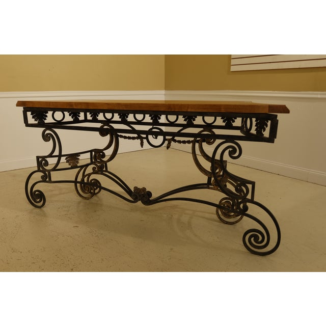 Wrought Iron Base Console Table with Maple Top For Sale - Image 10 of 13