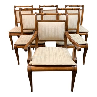 Henredon Cane + Upholstered Sleigh Back Room Chairs - Set of Six For Sale
