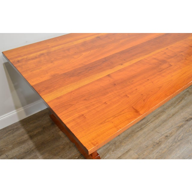 Wood Arts & Crafts Style Custom Quality Cherry Trestle Dining Table For Sale - Image 7 of 13