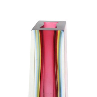 Modern Pyramid or Obelisk Shape Thick Pink Glass Vase Preview