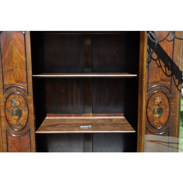 Berkey & Gay Berkey & Gay Hand Painted Victorian Mahogany China Display Cabinet For Sale - Image 4 of 13