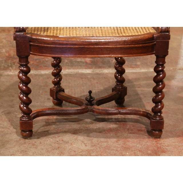 19th Century French Louis XIII Carved Oak Barley Twist and Caning Desk Armchair For Sale - Image 9 of 12