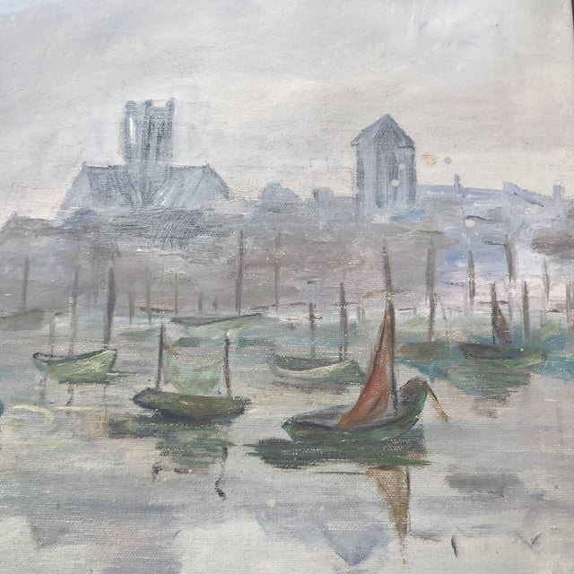 Mid-Century Sailboats in Harbor Framed Painting - Image 5 of 7