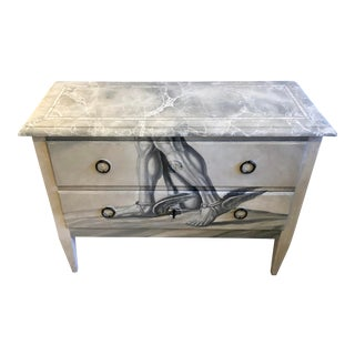 Italian Hand-Painted Commode With Trompe l'Oeil Top For Sale