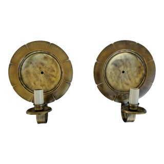 A Pair- Brushed Brass Round Scalloped Wall Sconces For Sale