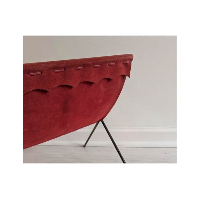 Modern Red Suede + Iron Magazine Holder For Sale - Image 3 of 6