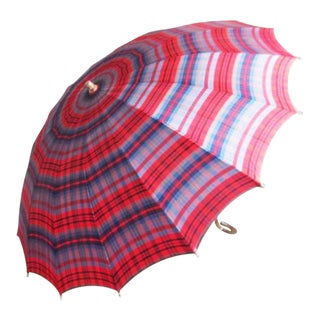 Vintage Red Plaid Umbrella For Sale