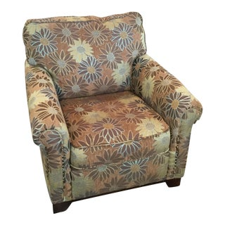 Mid-Century Modern Brown Daisy Patterned Armchair For Sale