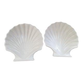 Porcelain Clamshell Serving Bowls - A Pair