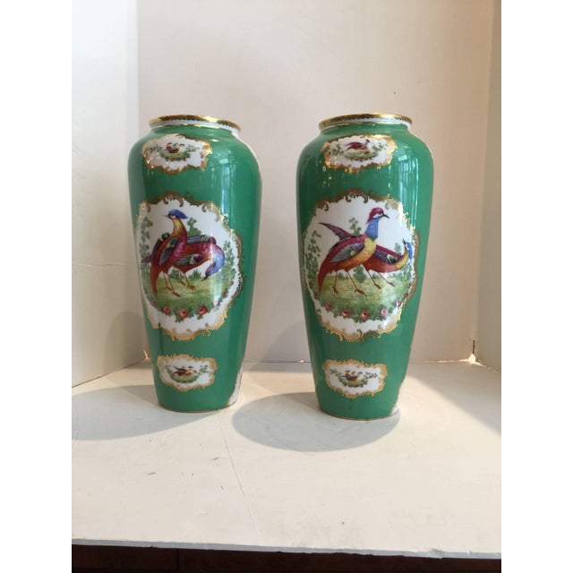 19th Century Victorian Porcelain Chelsea Bird Pattern Vases - a Pair For Sale In Philadelphia - Image 6 of 9