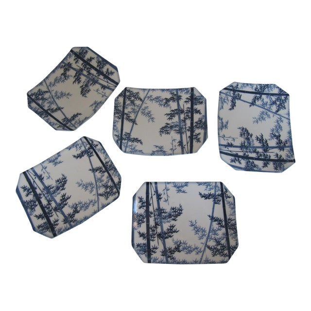 Blue & White Bamboo Design Sushi Plates- 5 Pieces For Sale