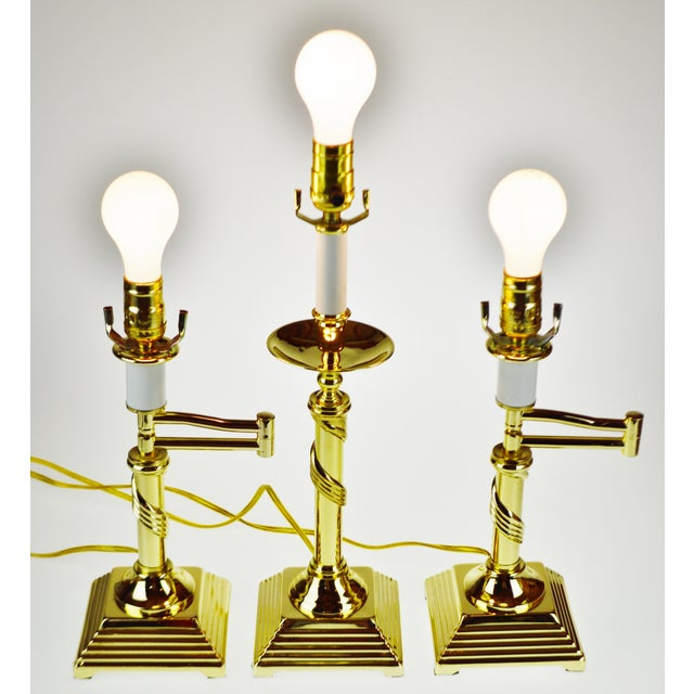 Vintage Brass Candlestick Spiral Twist Column Table Lamp For Sale - Image 9 of 10