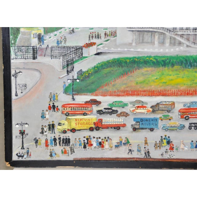 """1950s Large Scale New York City """"United Nations"""" Folk Art Painting by Helen Mauldin C.1958 For Sale - Image 5 of 13"""