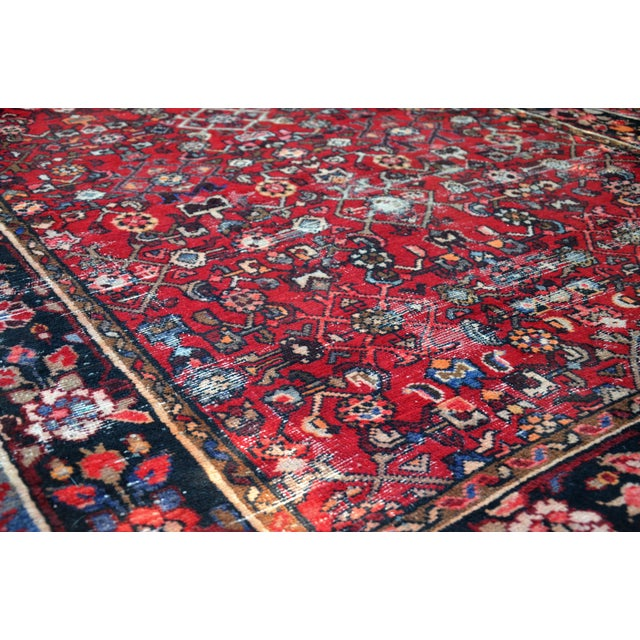 "Blue Persian Distressed Floral Carpet - 9' 4"" X 4' 8"" For Sale - Image 8 of 12"