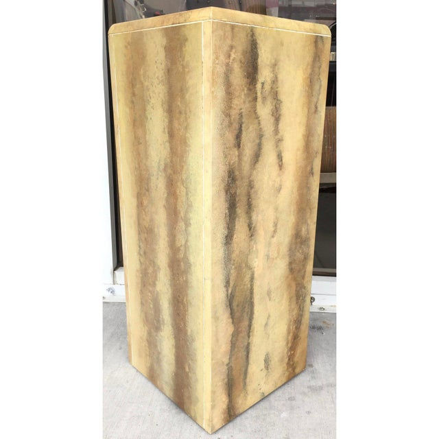 Faux Leather Painted Pedestal For Sale In Miami - Image 6 of 7