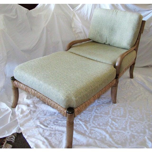 Woven Rattan & Bent Bamboo Chair & Ottoman - Image 2 of 5