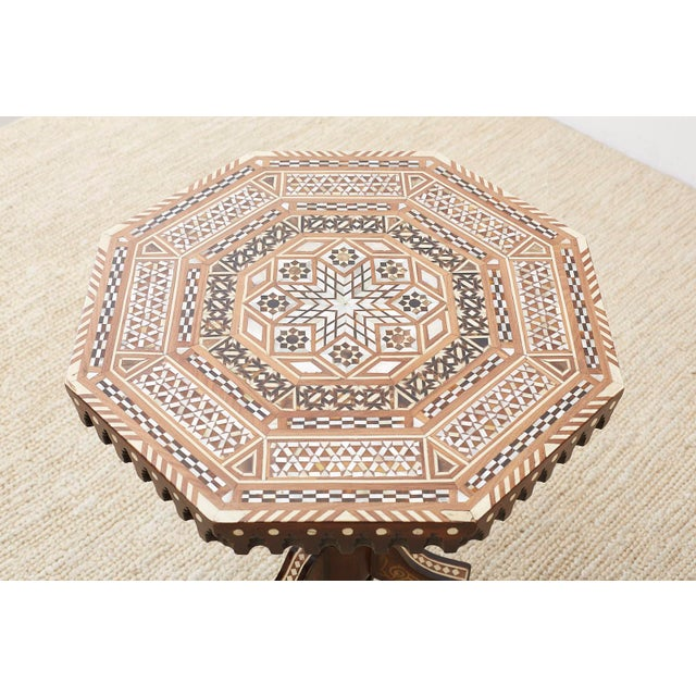 Pair of Middle Eastern Moorish Inlaid Drink Tables For Sale - Image 4 of 13
