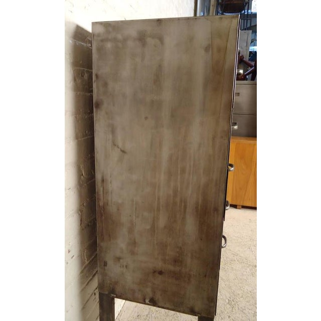 Mid 20th Century Industrial Ten-Drawer Metal Cabinet For Sale - Image 5 of 9
