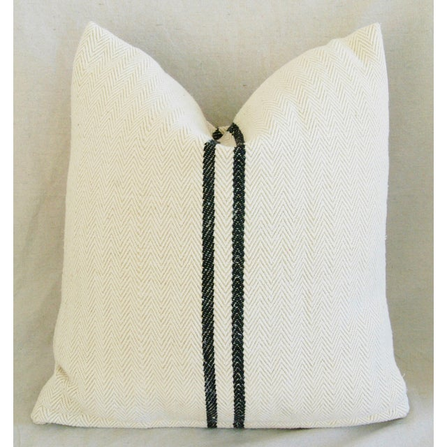 French Grain Sack Down & Feather Pillows - Pair - Image 4 of 10