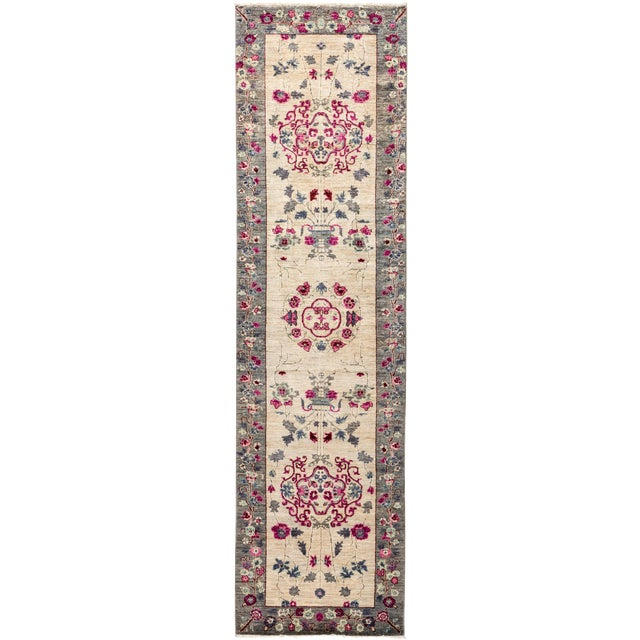 Ivory Suzani Runner Rug For Sale