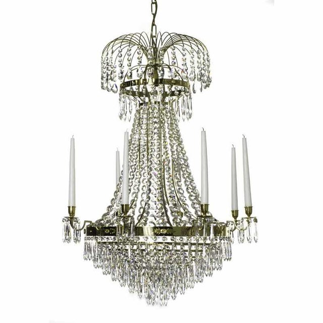 8 arm empire crystal chandelier in polished brass with crystal drops 8 arm empire crystal chandelier in polished brass with crystal drops width 72cm28 mozeypictures Image collections