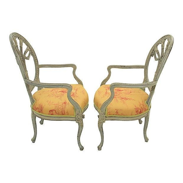 Antique Yellow Fauteuil Chairs - A Pair - Image 2 of 7