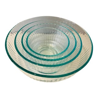 Vintage Pyrex Teal Clear Ribbed Glass Mixing Bowls-Set of 4 For Sale