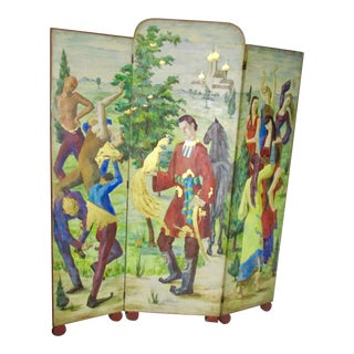 1930s Russian Fairy Tale Floor Screen For Sale