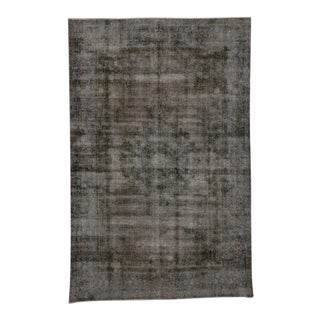 Dark Brown Distressed Vintage Persian Rug With Rustic Industrial Luxe Style For Sale
