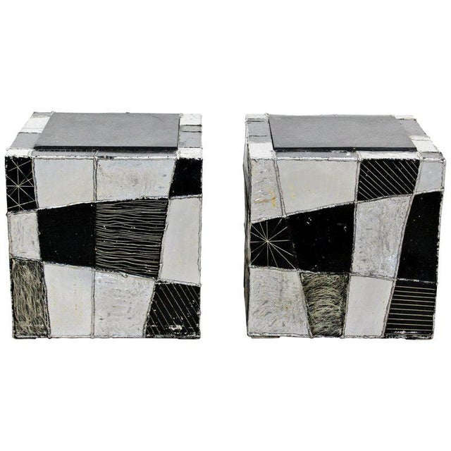Silver Mid-Century Modern Pair of Paul Evans Argente Cube Chrome Slate Side End Tables For Sale - Image 8 of 8