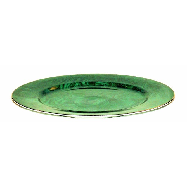 Vintage Neiman Marcus Emerald Green Malachite Serving Plate For Sale - Image 9 of 10