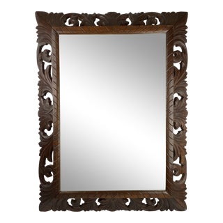 19th C. French Dark Oak Carved Mirror For Sale