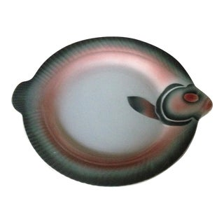 French Porcelain Fish Plate For Sale