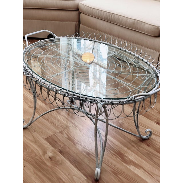 Shabby Chic Shabby Chic Wire Tray Table For Sale - Image 3 of 7