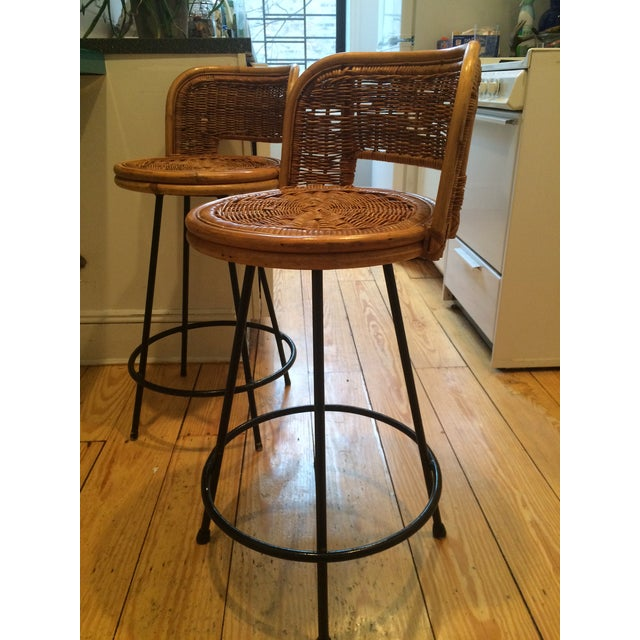 Tony Paul Style Vintage Rattan & Bamboo Swivel Bar Stools- A Pair - Image 2 of 5