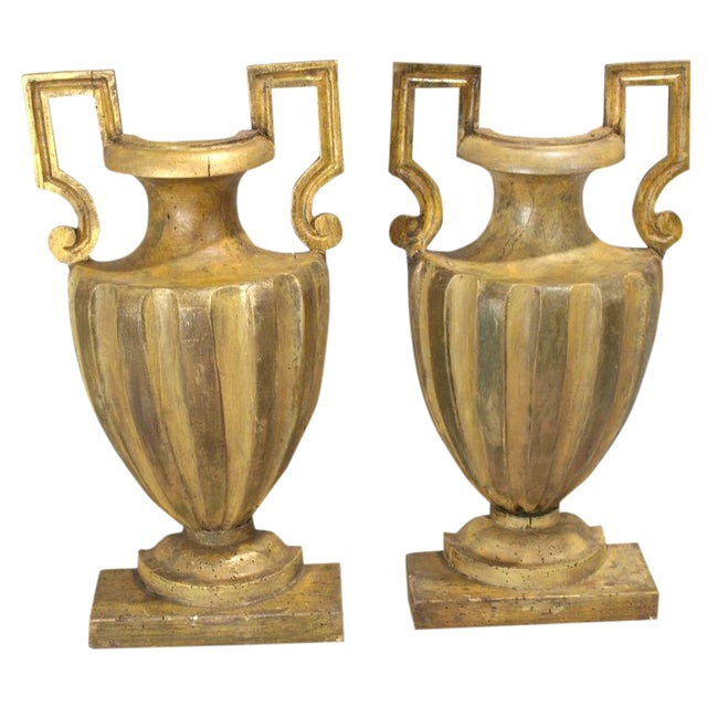 Pair of 18th Century Half-Urn Carved Wood Decorations For Sale
