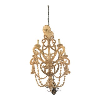 Vintage Seashell Shell Encrusted 5 Light Chandelier