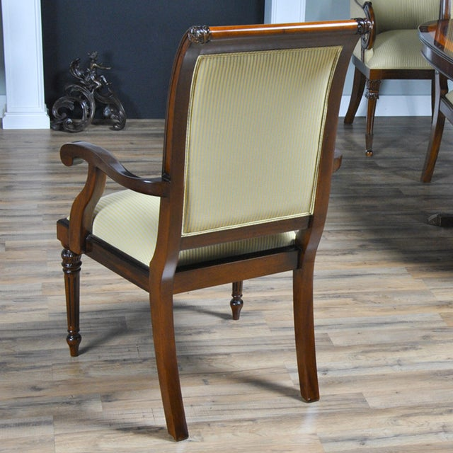 Tall Back Upholstered Arm Chairs - Pair For Sale - Image 6 of 8